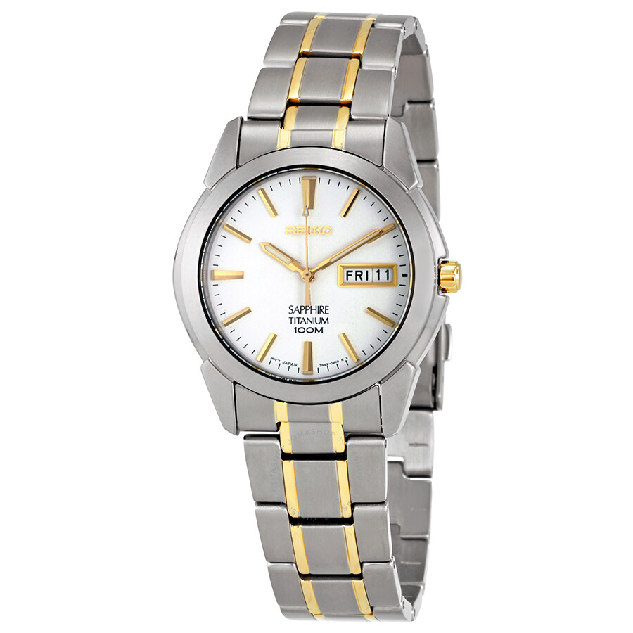 Seiko White Dial Mens Two Tone Titanium Watch SGG733P1