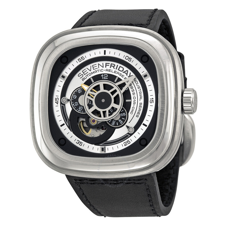 Sevenfriday industrial essence silver and black dial automatic men 39 s watch p1 1 sevenfriday for Sevenfriday watches
