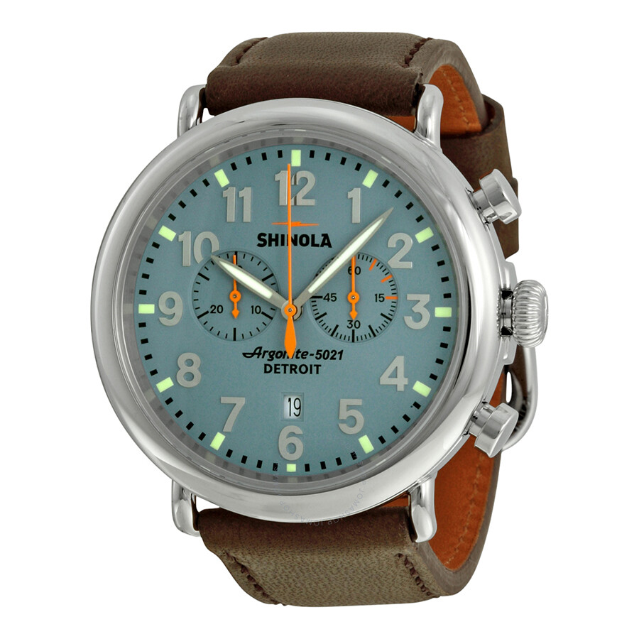 Shinola The Runwell Chronograph Slate Blue Dial Deep Brown Leather Mens Watch 11000167