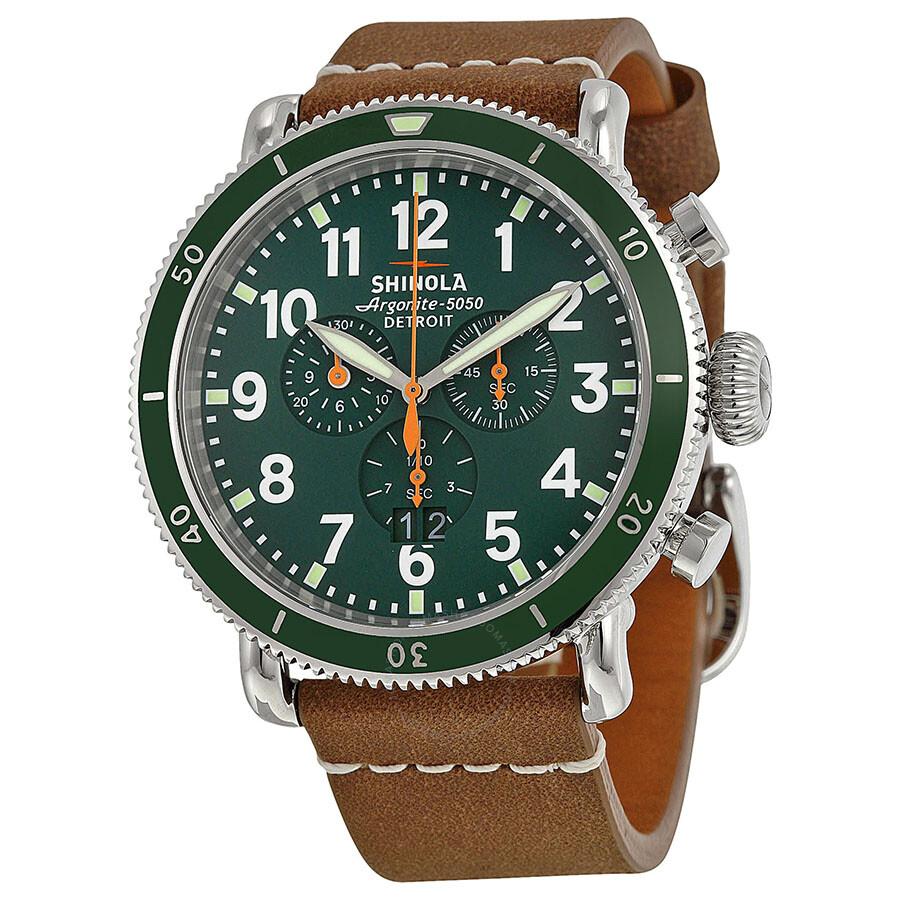 Shinola the runwell sport chrono green dial tan leather men 39 s watch s0100091 the runwell for Shinola watches