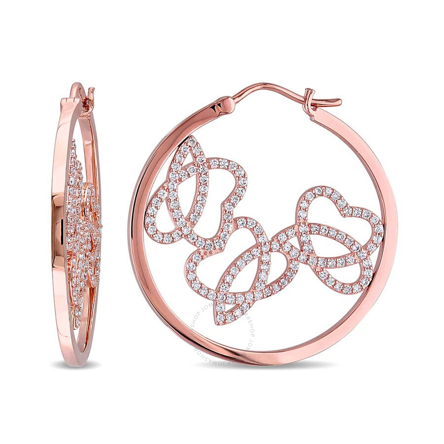 SignatureJB 1 CT Diamond TW Charm Earrings 14k Pink Gold GH SI