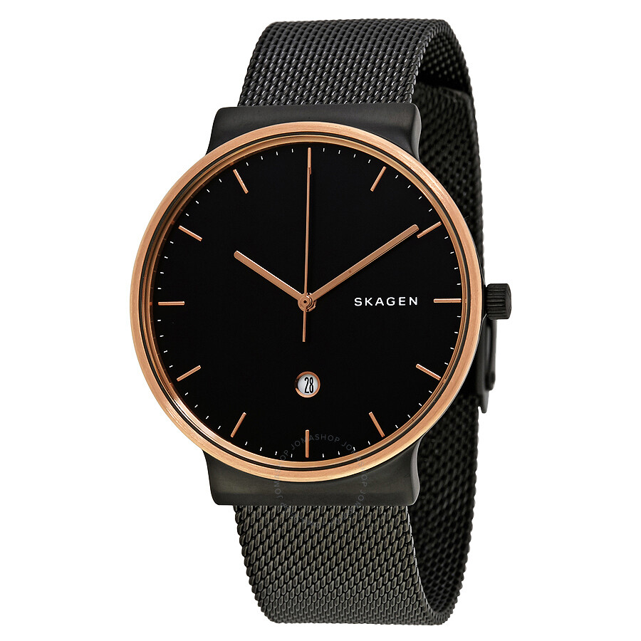 watch watches dial steel skagen bracelet mesh metal s men stainless ancher black
