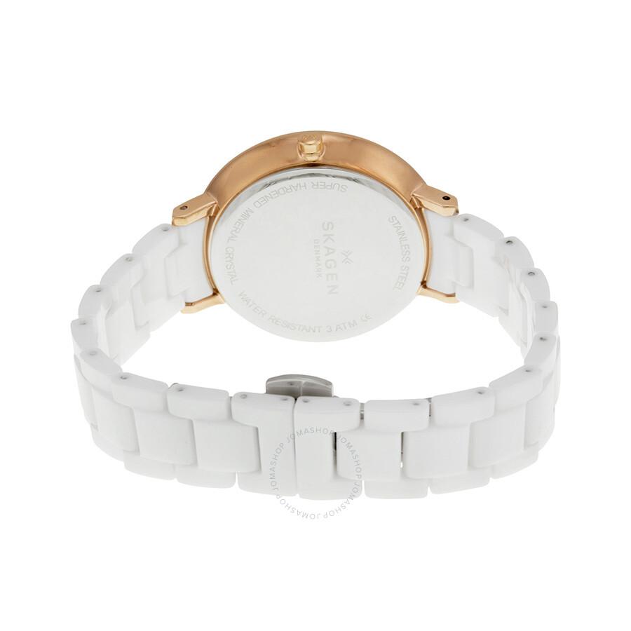 Skagen Ditte White Dial White Ceramic Ladies Watch Skw2316
