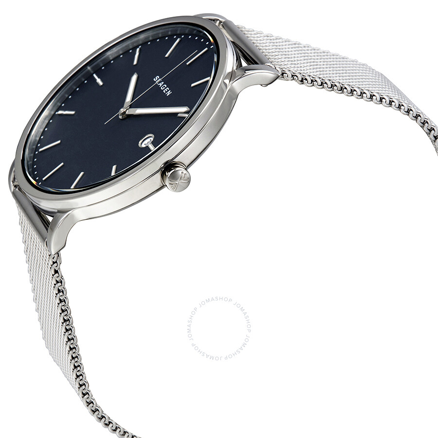 steel hagen metal blue dial watches product s skagen mens watch mesh stainless men