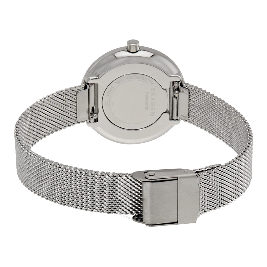 today overstock gitte dial s jewelry stainless skagen bracelet watches shipping mesh metal free steel product silver womens watch women
