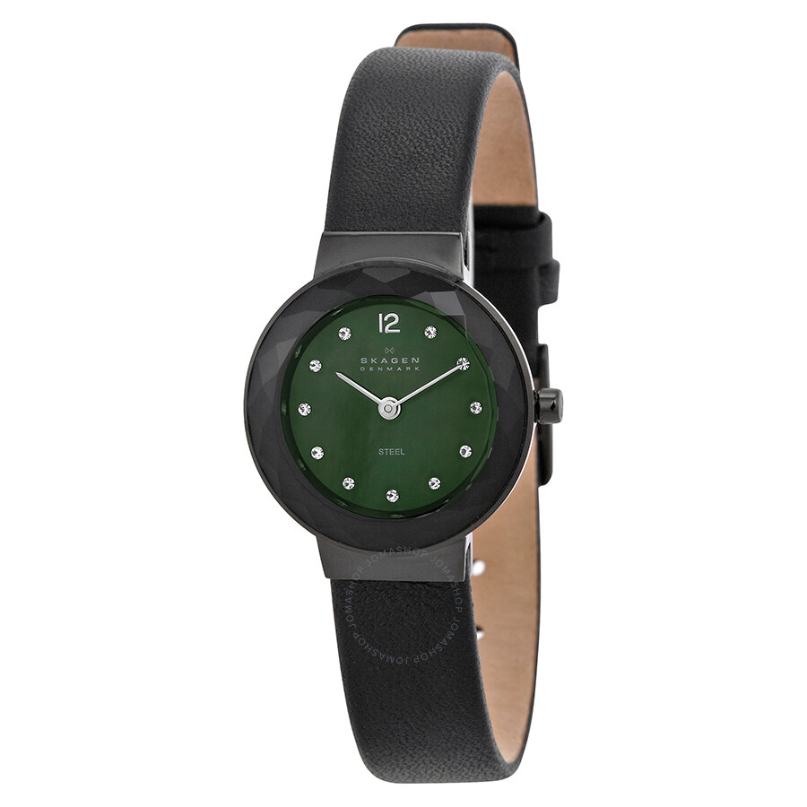 Skagen ultra slim black dial swarovski crystal ladies watch 456sblb swarovski with skagen for Crystal watches