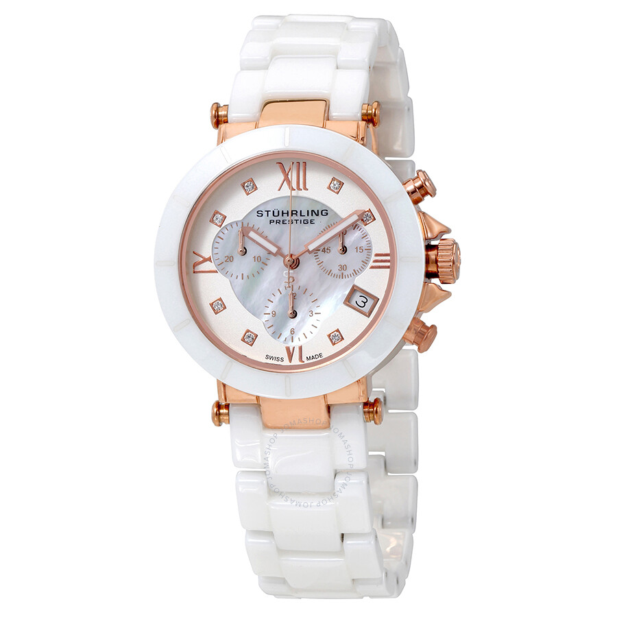 Stuhrling Mother of Pearl Dial White Ceramic Ladies Watch 512L.131EP2