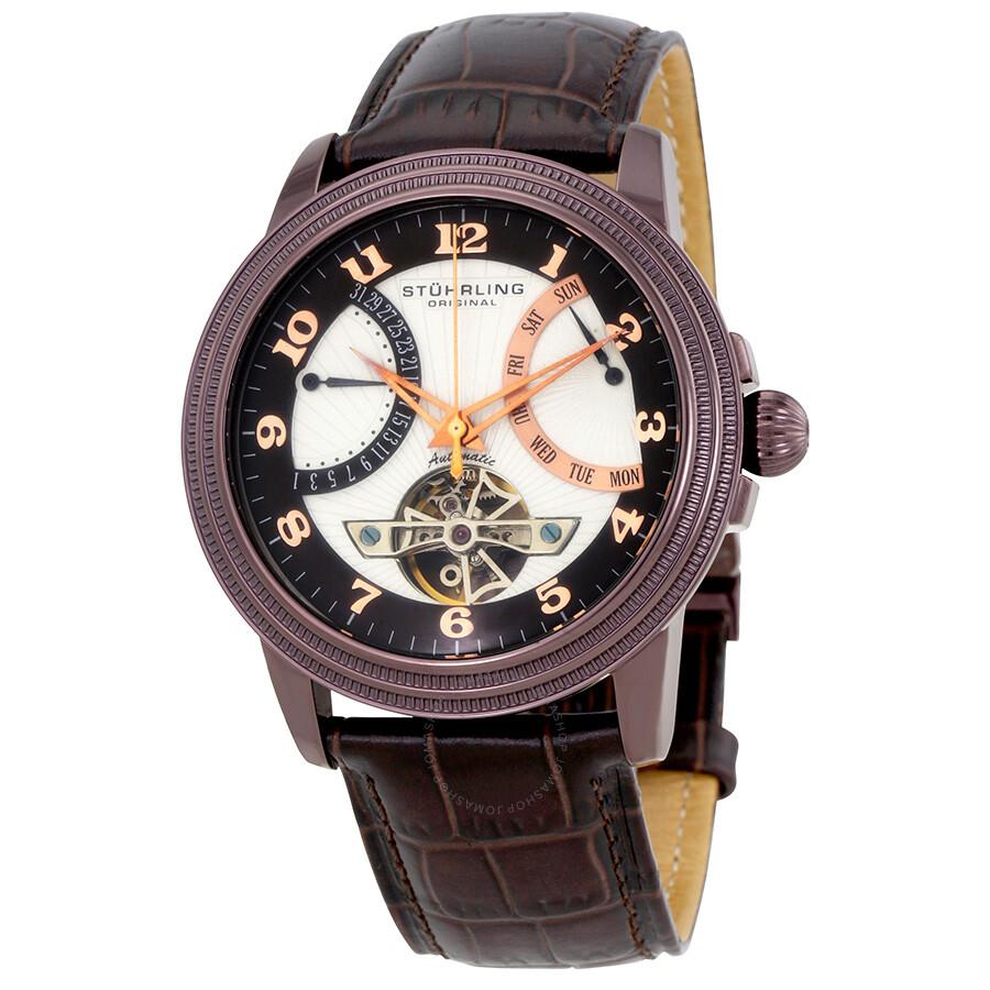 Stuhrling Saturnalia Leather Automatic Mens Watch 213.33X5C2