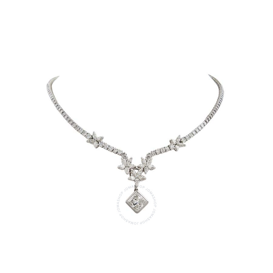 Stunning Brilliant and Marquise Diamond Floral Necklace with Radiant Pendant..