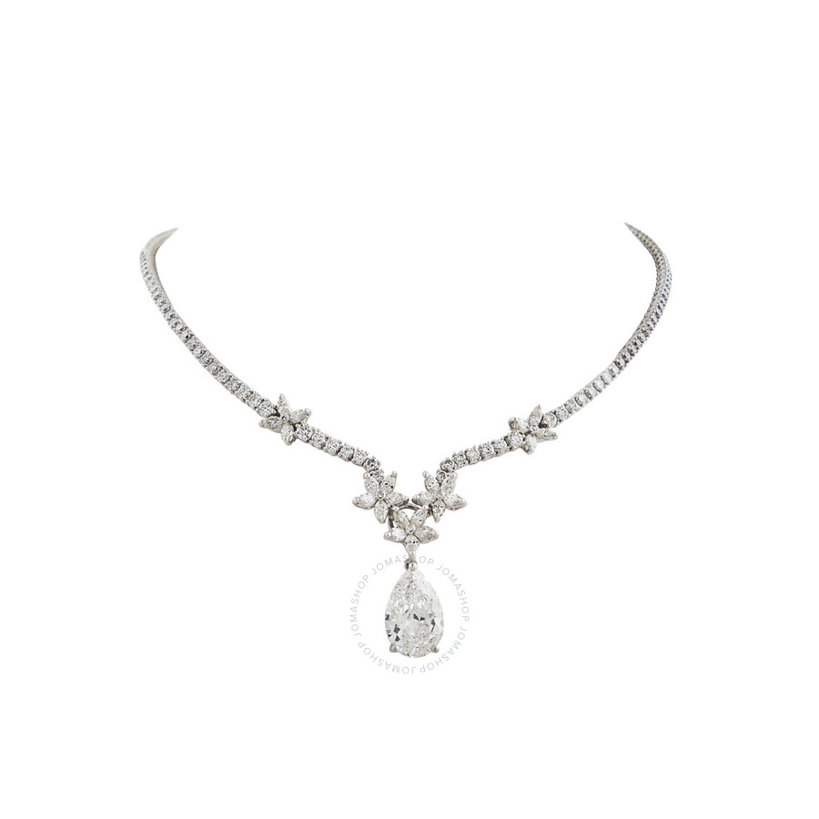Stunning Brilliant Diamond Necklace with Pear Shape Diamond Drop 11.64 CT