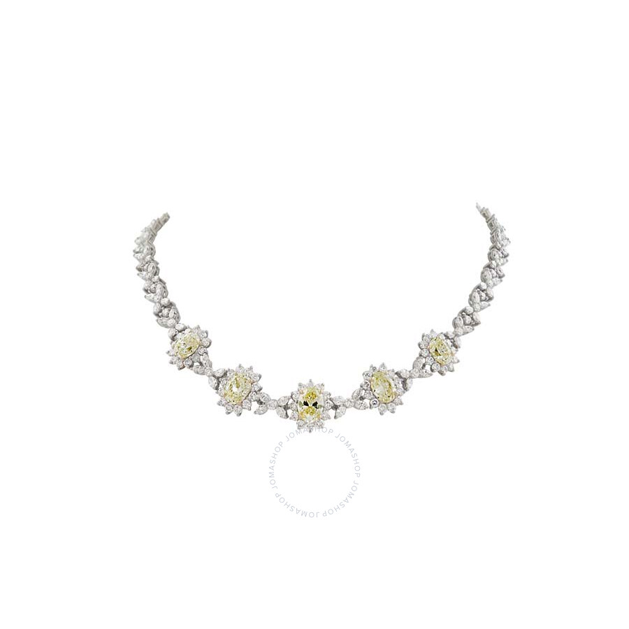 Stunning Classy Yellow Oval Diamond  Necklace 21.55 CT