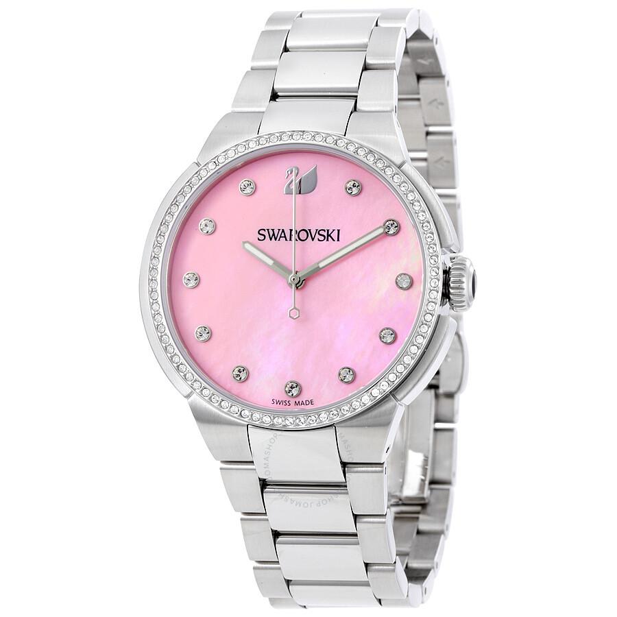 Swarovski City Pink Mother of Pearl Dial Ladies Watch 5205993 ...