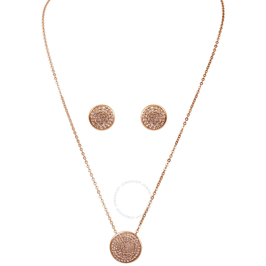 Swarovski Rose Gold Earring and Necklace Fun Set