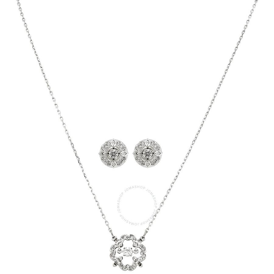 Swarovski Sparkling Dance Rhodium Plated Necklace and Earrings Set
