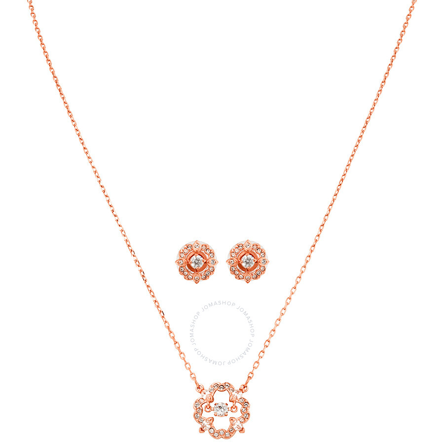 Swarovski Sparkling Dance Rose Gold-Plated Necklace and Earrings Set