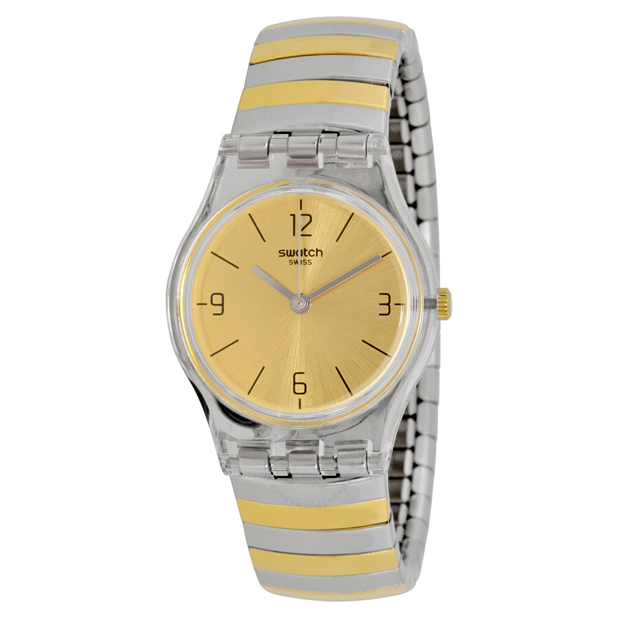 Swatch Originals Enilorac Gold Dial Two-tone Expansion Ladies Watch LK351B