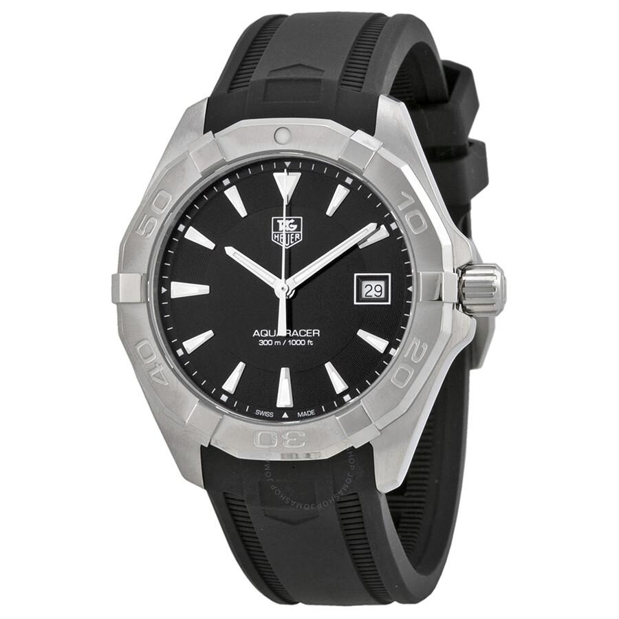 Tag heuer aquaracer black dial black rubber men 39 s watch way1110 ft8021 aquaracer tag heuer for Tag heuer aquaracer