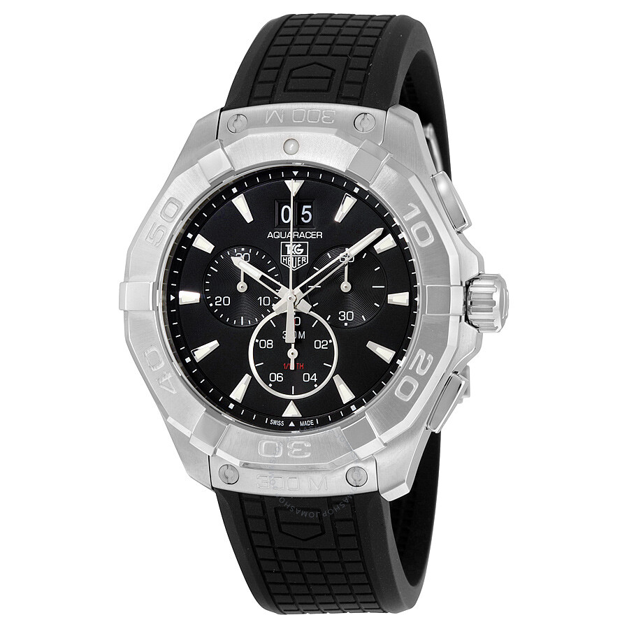 Tag Heuer Aquaracer Black Dial Chronograph Rubber Strap Mens Watch CAY1110. FT6041