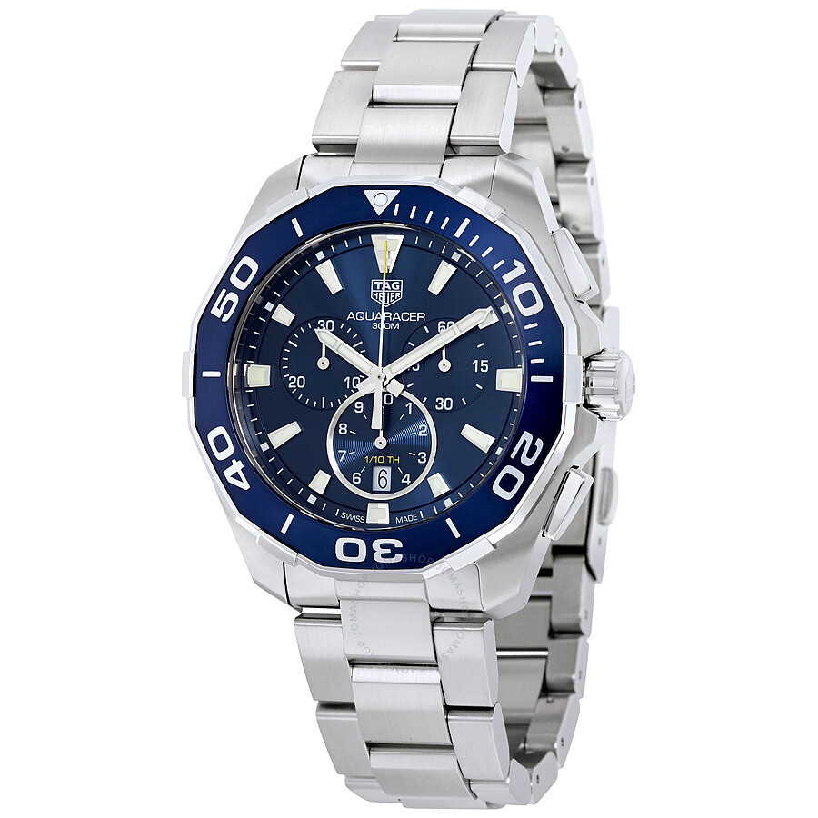 Tag heuer aquaracer chronograph blue dial men 39 s watch cay111b ba0927 aquaracer tag heuer for Tag heuer chronograph