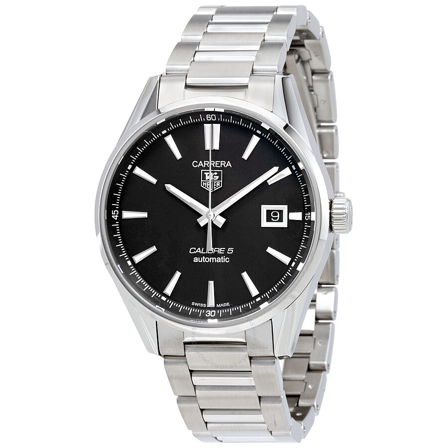 Tag heuer carrera automatic black dial men 39 s watch war211a ba0782 carrera tag heuer for Tag heuer automatic