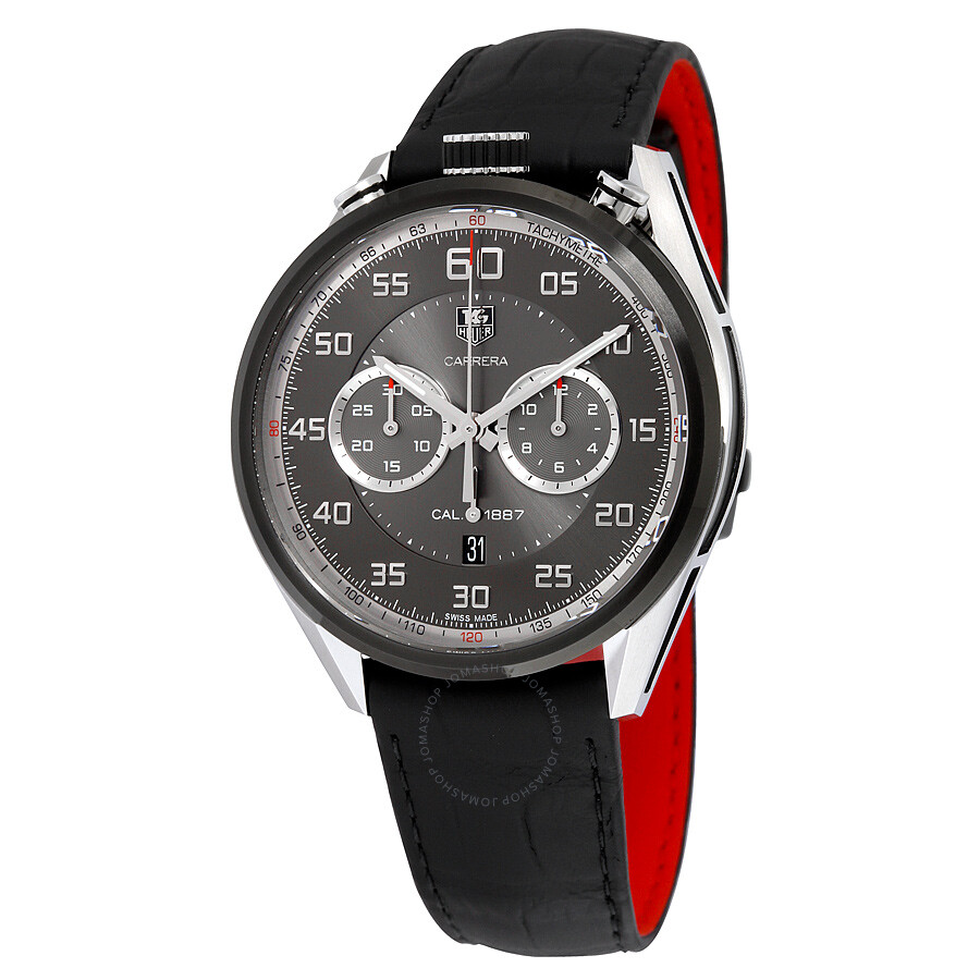 Tag heuer carrera automatic chronograph black dial black leather men 39 s watch car2c12fc6327 for Tag heuer automatic