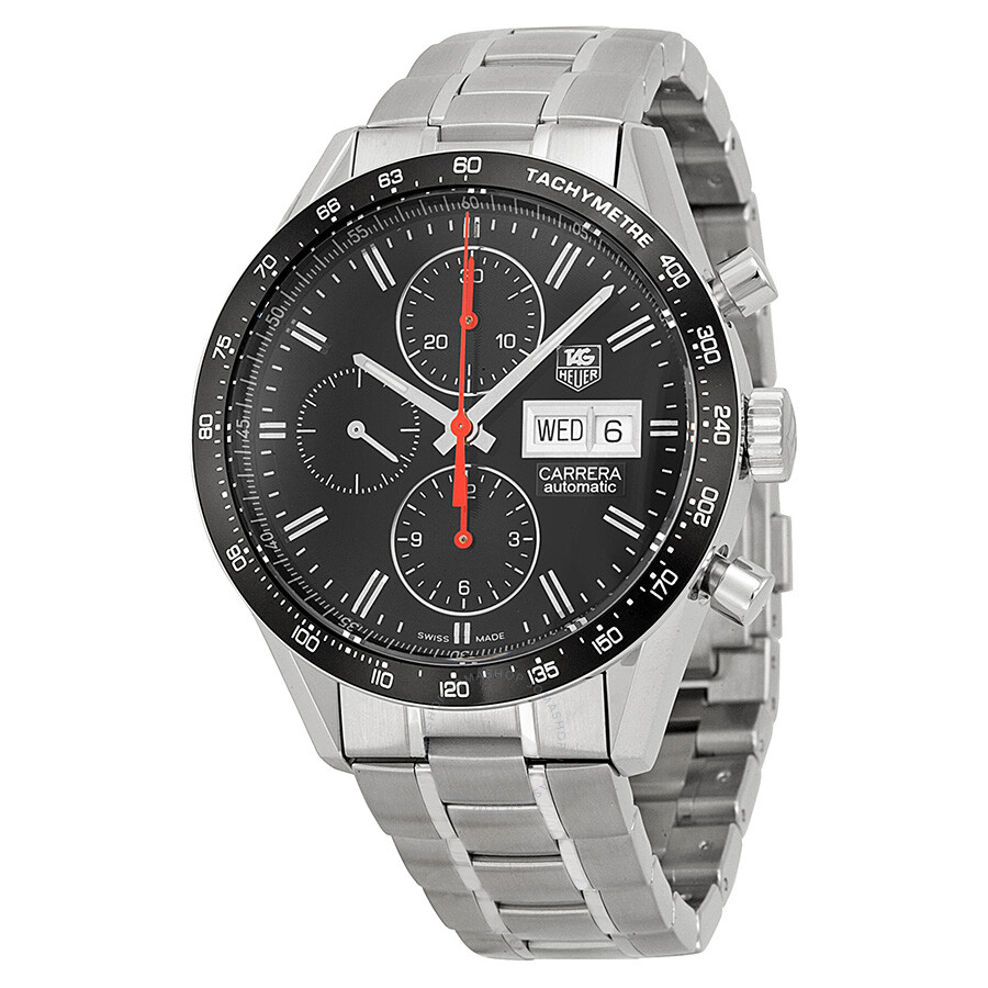Tag Heuer Carrera Automatic Chronograph Black Dial Stainless Steel Mens Watch CV201AHBA0725