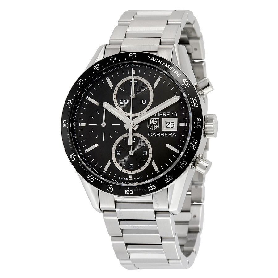 Tag Heuer Carrera Chronograph Automatic Black Dial Stainless Steel Mens Watch CV201AJ. BA0727