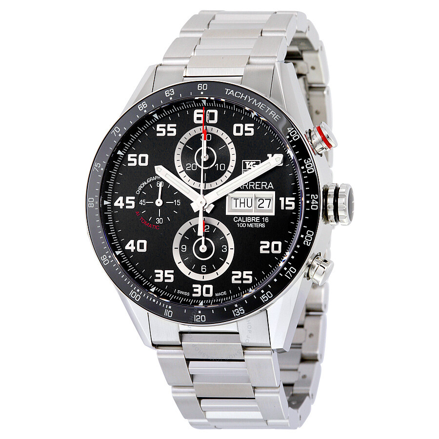 Tag Heuer Carrera Automatic Chronograph Black Dial Stainless Steel Mens Watch CV2A1R. BA0799