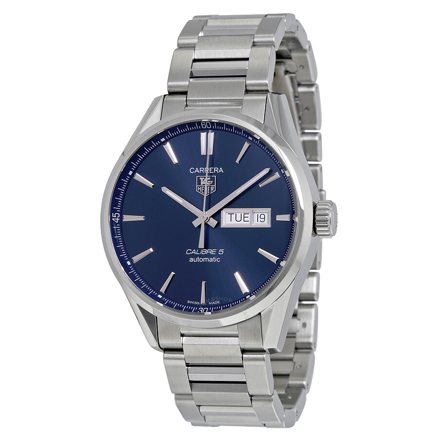 Tag heuer carrera blue dial stainless steel men 39 s watch carrera tag heuer watches jomashop for Tag heuer carrera