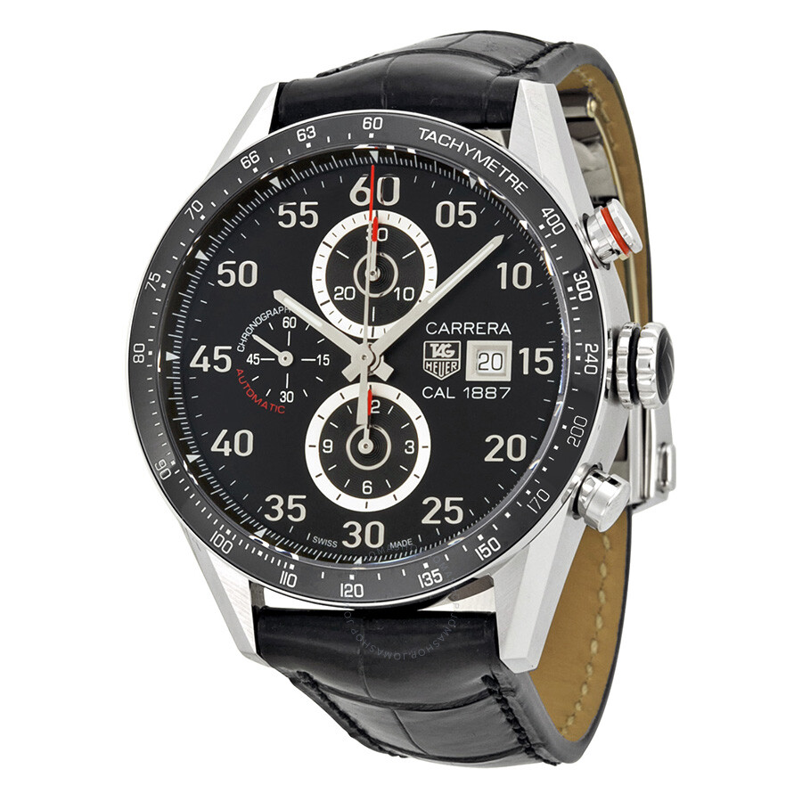 Tag heuer carrera calibre 1887 automatic chronograph black dial stainless steel men 39 s watch for Tag heuer automatic