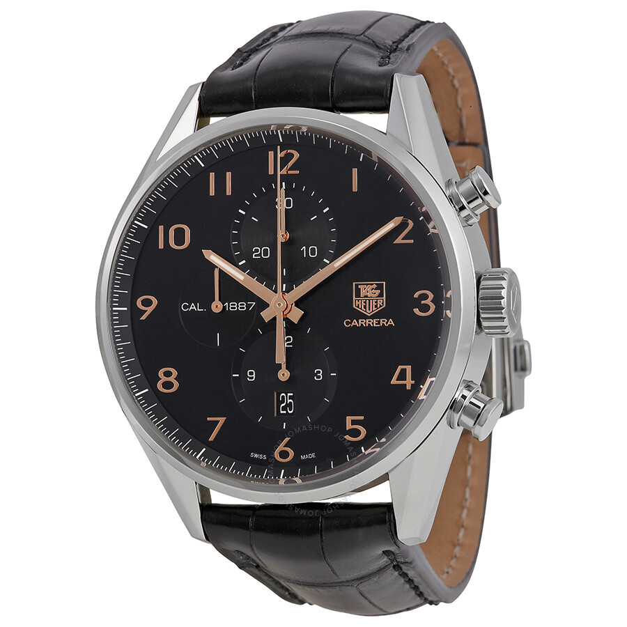 Tag heuer carrera calibre 1887 chronograph automatic black dial men 39 s watch car2014 fc6235 for Tag heuer automatic