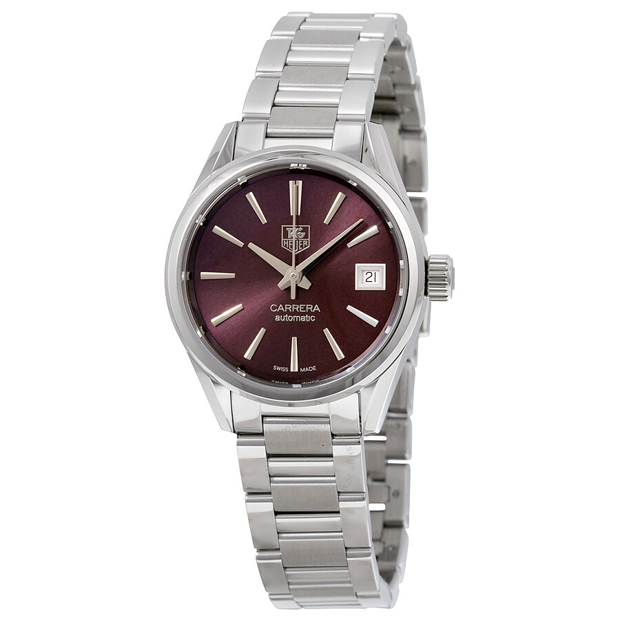 Tag Heuer Carrera Automatic Calibre 9 Burgundy Dial Stainless Steel Ladies Watch WAR2417. BA0776