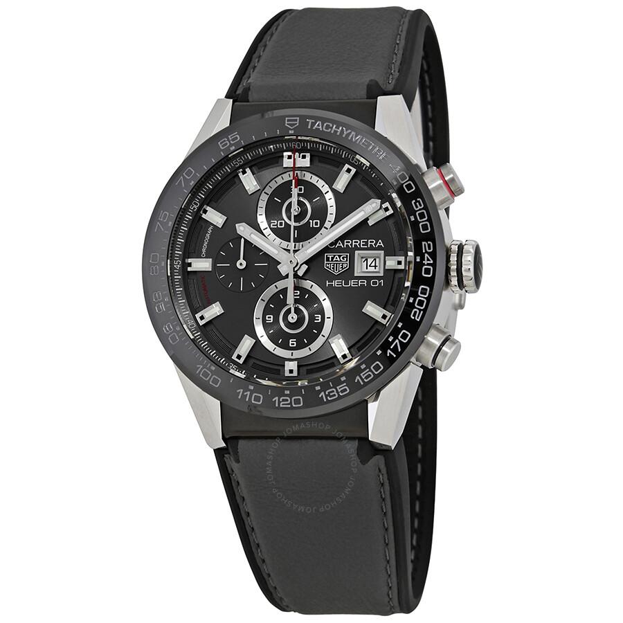 tag heuer carrera chronograph automatic black dial men 39 s. Black Bedroom Furniture Sets. Home Design Ideas