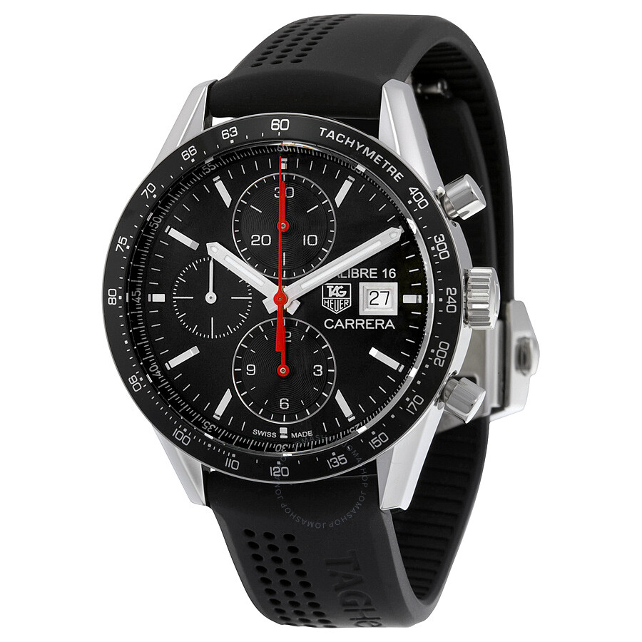 Tag heuer carrera chronograph automatic black dial black rubber men 39 s watch cv201ak ft6040 for Tag heuer automatic