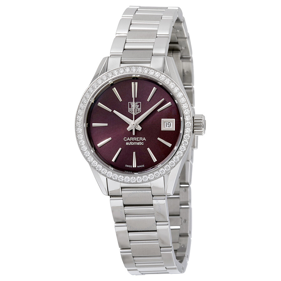 Tag Heuer Carrera Maroon Dial Stainless Steel Ladies Watch WAR2418BA0776