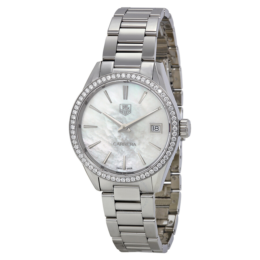 Tag heuer carrera mother of pearl dial diamond stainless steel ladies watch war1315 ba0778 for Tag heuer women