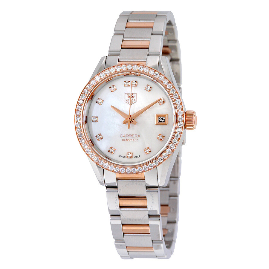 Tag Heuer Carrera Mother of Pearl Diamond Dial Steel and 18kt Rose Gold Mens Watch WAR2453. BD0777