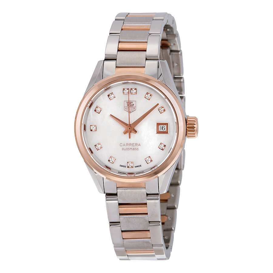 Tag Heuer Carrera Mother of Pearl Diamond Steel and 18kt Rose Gold Ladies Watch WAR2452. BD0777