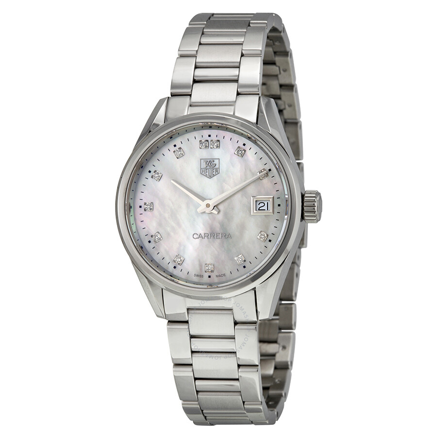 Tag heuer carrera mother of pearl dial ladies watch war1314 ba0778 carrera tag heuer for Mother of pearl dial watch