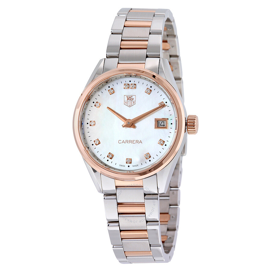 Tag Heuer Carrera White Mother of Pearl Dial Wesselton Diamonds Stainless Steel Ladies Watch WAR1352