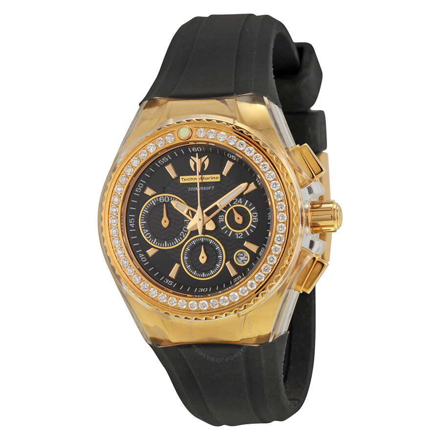 Technomarine cruise original star chronograph diamond black dial ladies watch 111008 cruise for Diamond dial watch