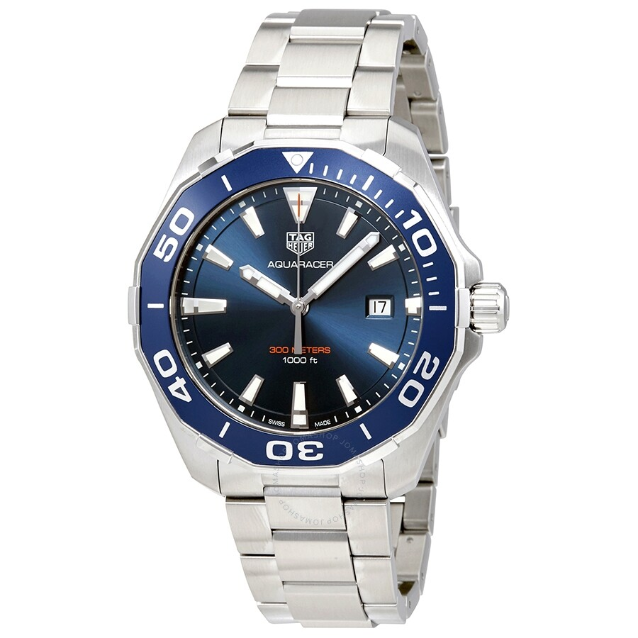 Tag heuer aquaracer blue dial stainless steel men 39 s watch way101c ba0746 aquaracer tag heuer for Tag heuer c flex