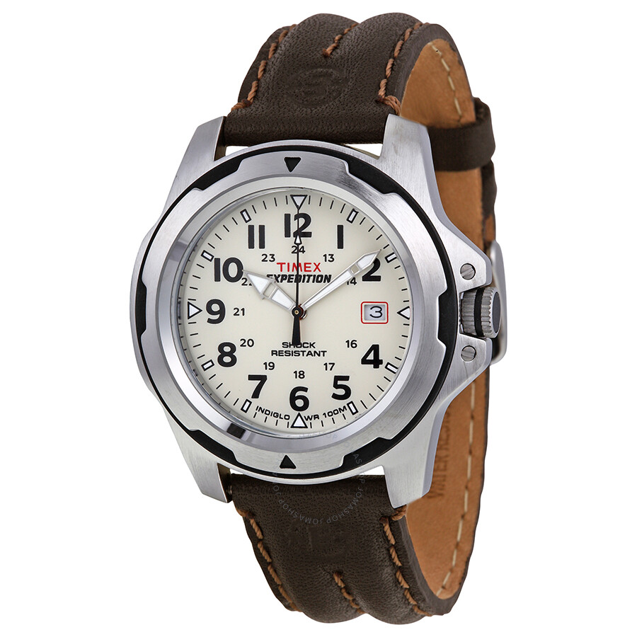 Timex Expedition Rugged Field Beige Dial Brown Leather Men