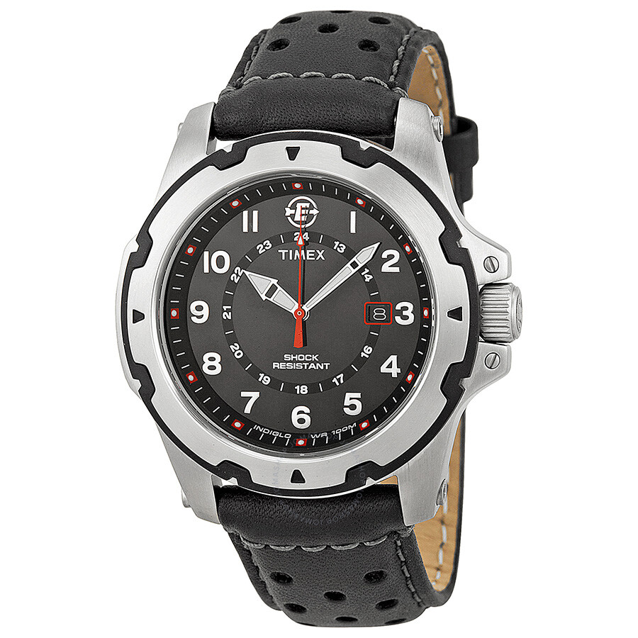 timex expedition rugged field black dial black leather men s watch rh jomashop com Timex Expedition Watch Timex Watch Expedition Rugged