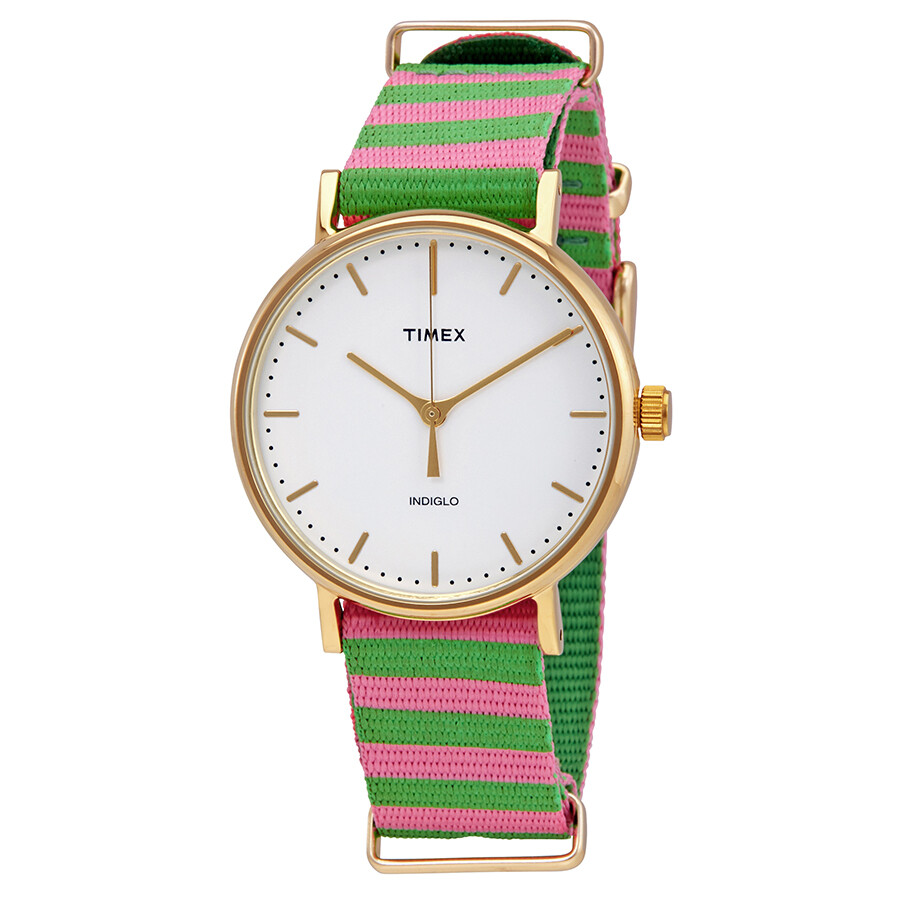 Timex Weekender White Dial Ladies Two Tone Watch TW2P91800JT