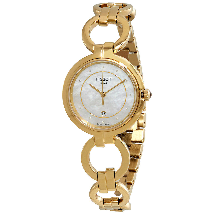 Tissot Flamingo Diamond White Mother of Pearl Dial Ladies Watch T094.210.33...