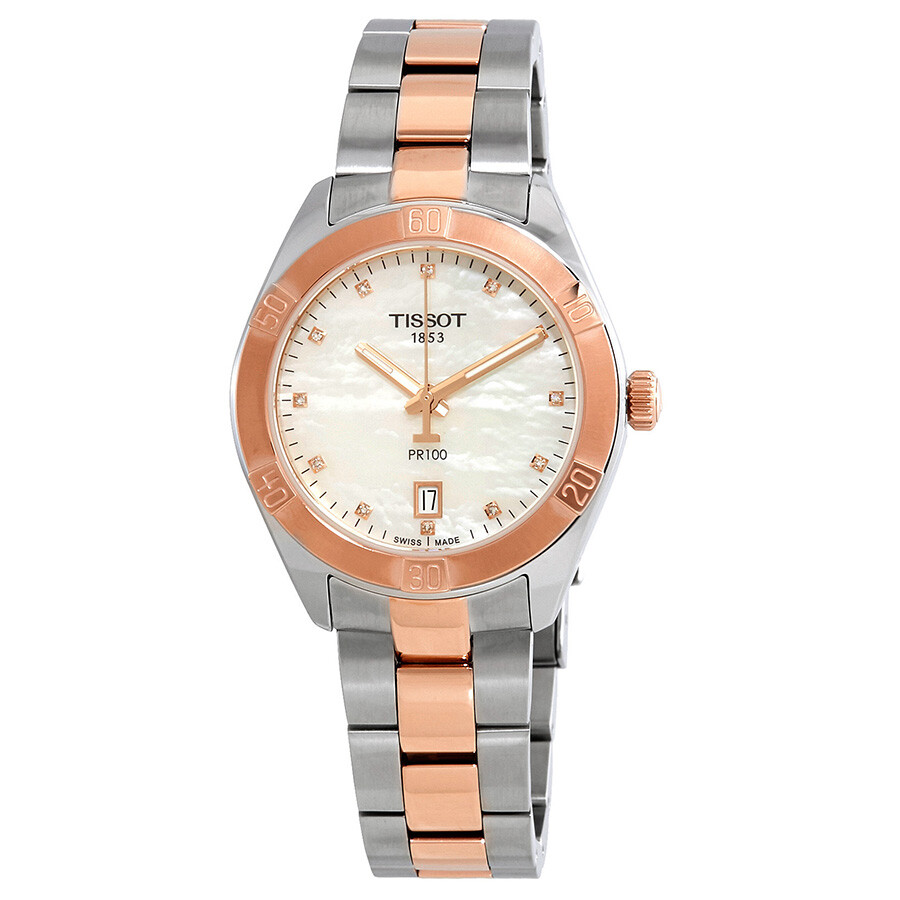 Tissot PR100 Diamond White Mother of Pearl Dial Ladies Watch T101.910.22.116..