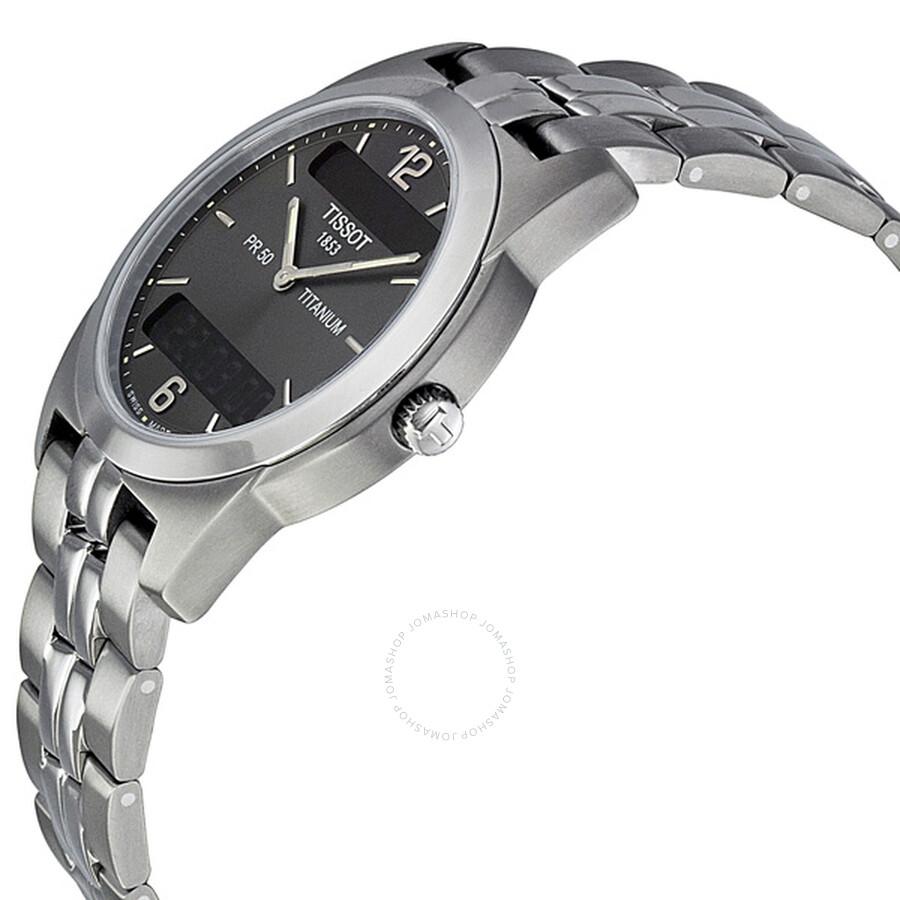 tissot pr50 titanium analog digital grey men s watch t34 7 487 62 rh jomashop com tissot 1853 pr50 titanium manual Tissot PR 50 Titanium Watches