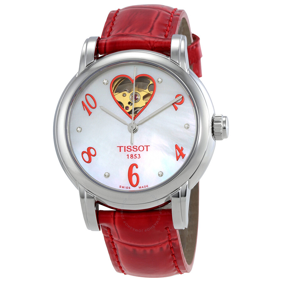 Luxury Watches Pens Handbags And Crystal Tissot T Race Ladies T0482171701700 Classic White Mother Of Pearl Dial Red Leather Heart Watch T050