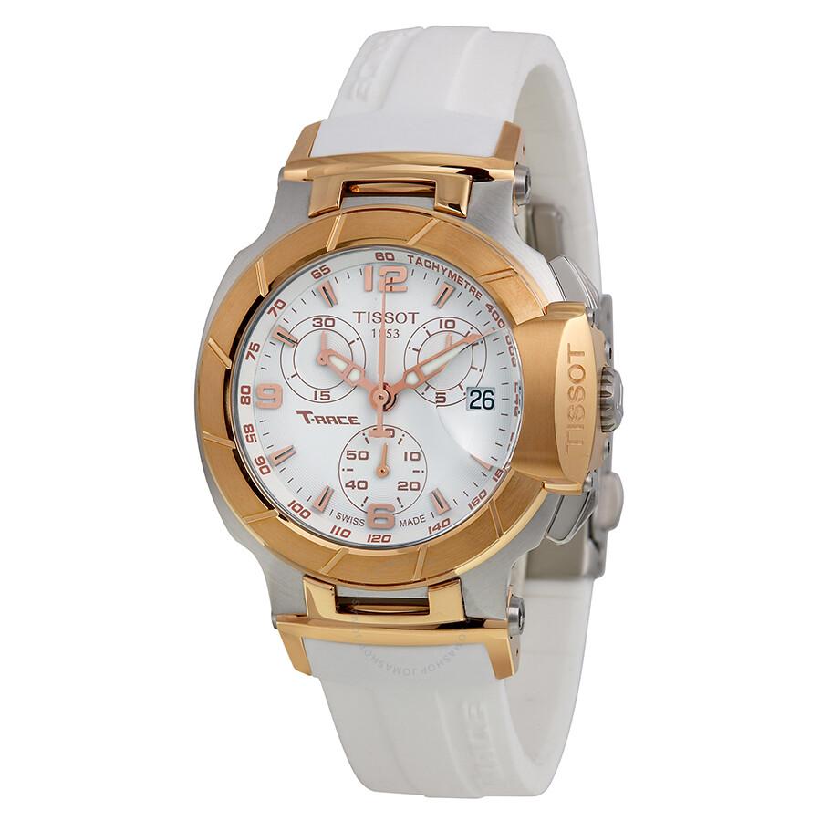Tissot T Race Chronograph White Rubber Strap Ladies Watch
